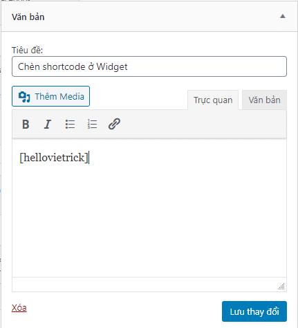 Chèn shortcode ở widget