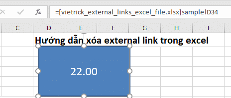 Break excel external link in Shape