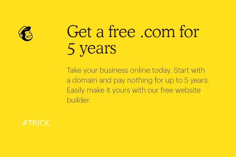 Mailchimp đang miễn phí tên miền .com 5 năm
