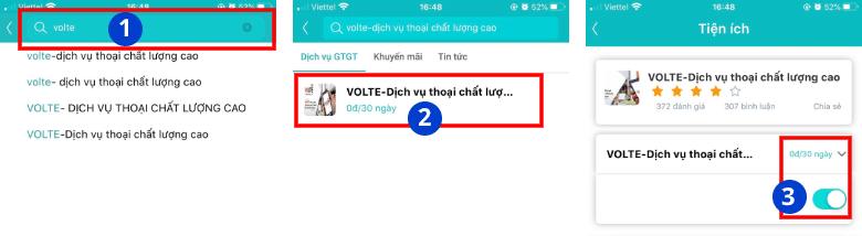Đăng ký VoLTE qua ứng dụng My Viettel