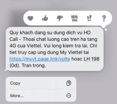 Tin nhắn thông báo kích hoạt dịch vụ thành công