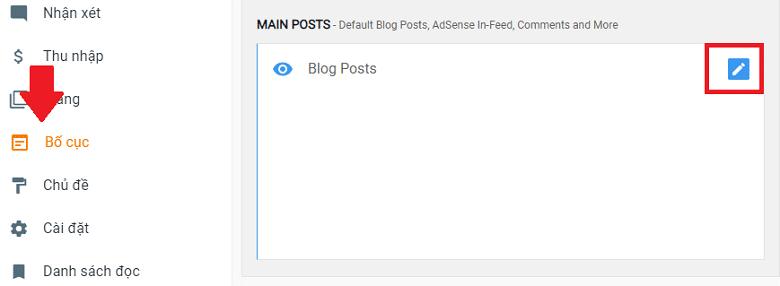 Edit Blog Posts options