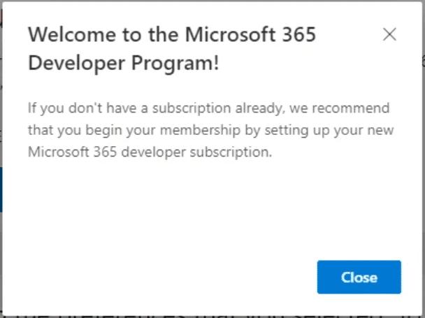 Thông báo đăng ký Microsoft Developer Program thành công