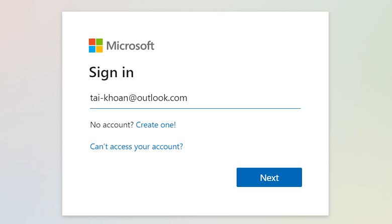 Đăng nhập tài khoản email Microsoft
