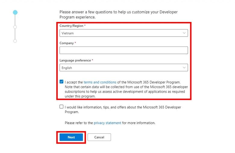 Nhập thông tin tài khoản tham gia Microsoft Dev Program