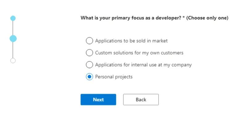 Bạn chọn Personal projects, rồi nhấn Next