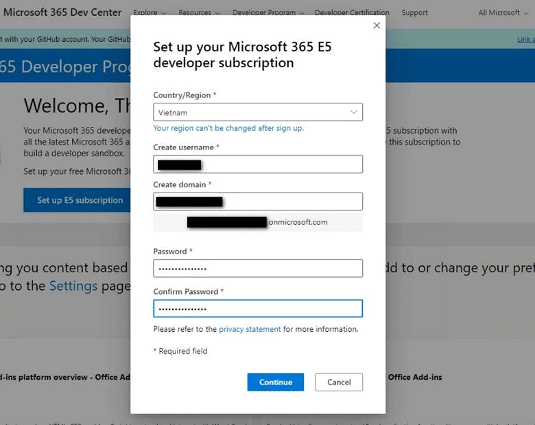 Setup tài khoản quản trị gói E5 subscription